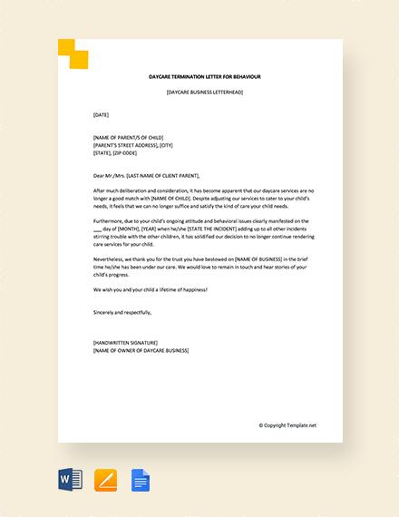 Free Daycare Termination Letter for Behavior