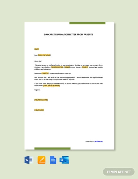 Free Daycare Termination Letter from Parents