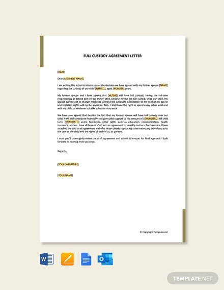 Free Full Custody Agreement Letter