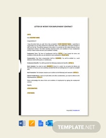 Free Letter of Intent for Employment Contract