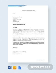 Free Church Volunteer Reference Letter
