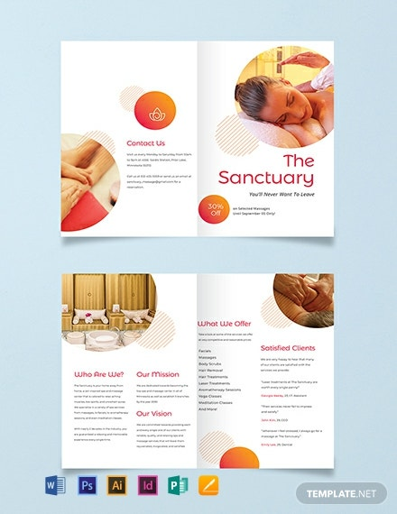 Massage Therapy Bi-Fold Brochure Template