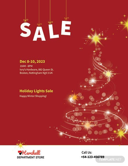 Free Christmas Lights Sale Poster Template