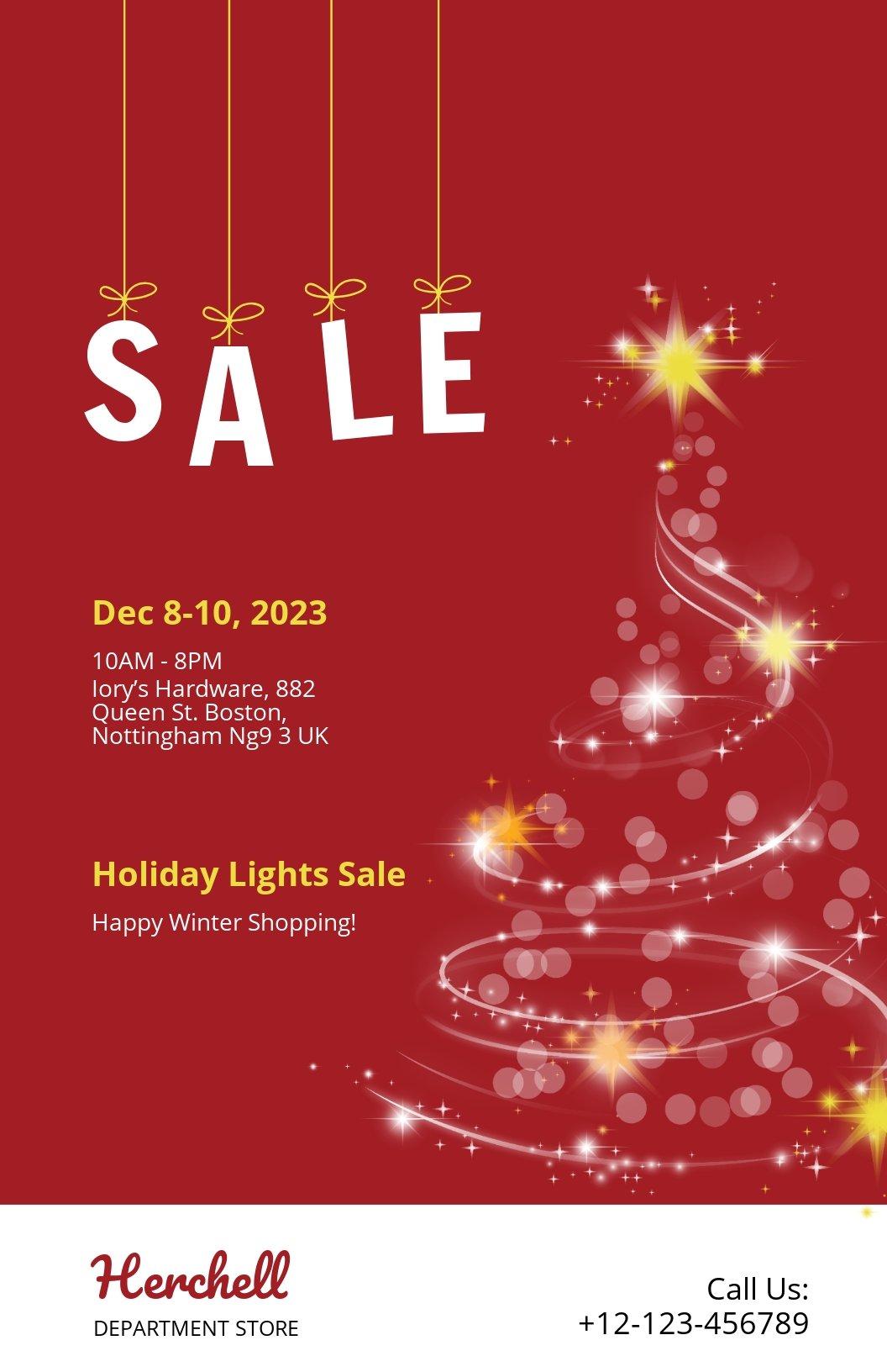 Christmas Lights Sale Poster Template