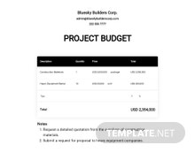 Free Basic Project Budget Template