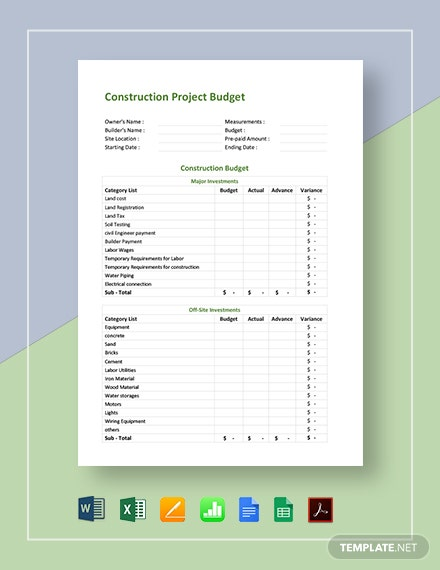 Construction Project Budget Template