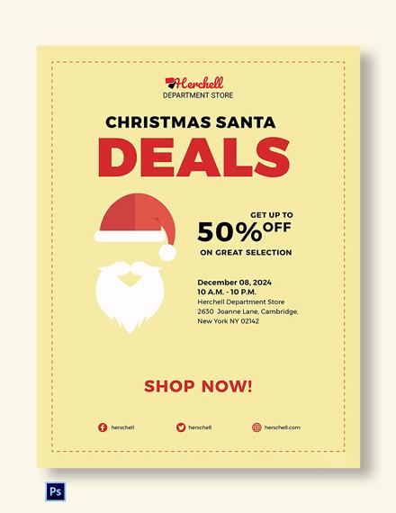 Free Christmas Santa Sale Poster Template