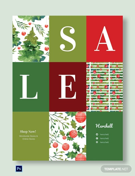 Free Christmas Shopping Sale Poster Template