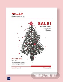 Free Snow Trees Sale Poster Template