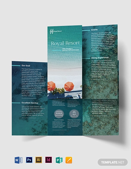 Royal Resort Tri Fold Brochure Template 259 Brochures In Adobe Ilrator Photo Indesign Microsoft Word Publisher