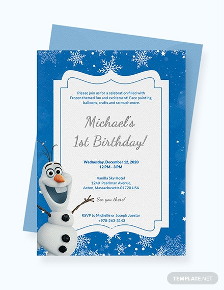 Sample Frozen Birthday Invitation