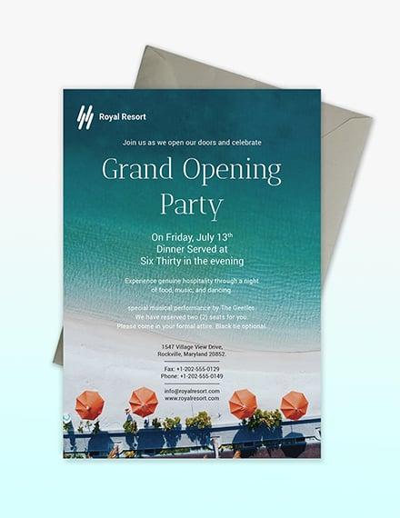 Sample Royal Resort Invitation