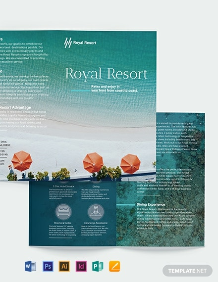 Royal Resort Bi Fold Brochure Template