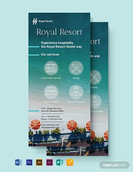 Royal Resort Rack Card Template