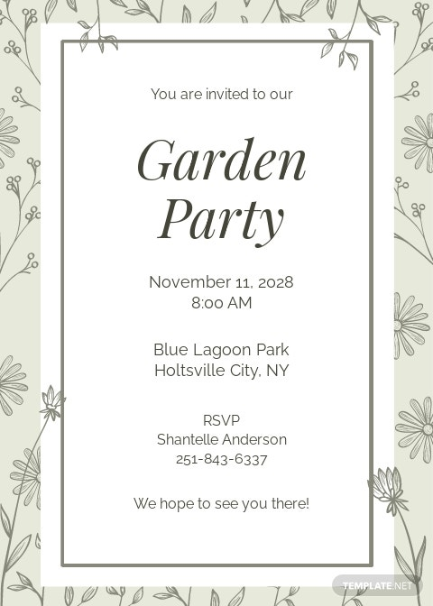 Garden Party Invitation Template [Free JPG] - Google Docs, Illustrator, Word, Outlook, Apple Pages, PSD, Publisher