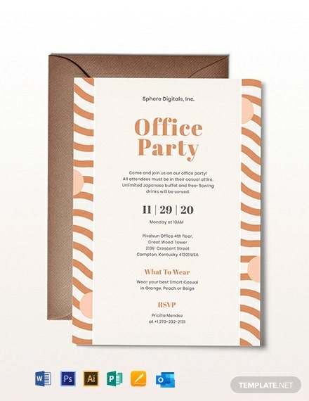 Office Party Invitation Template