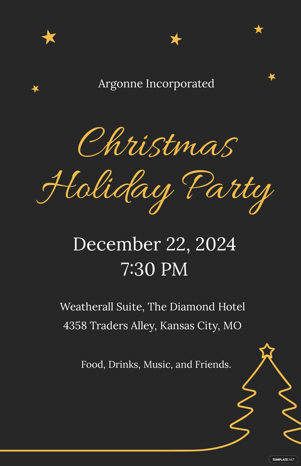 Christmas Holiday Party Poster Template