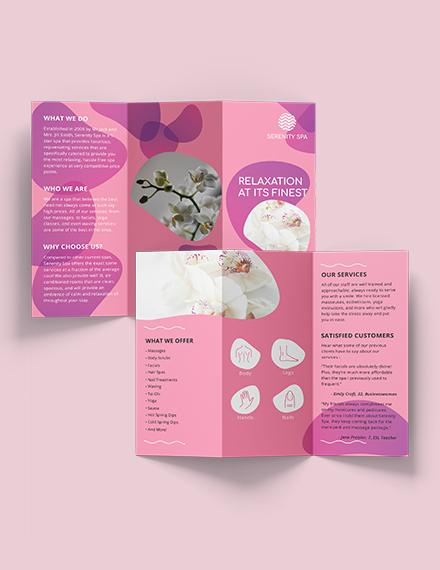 Sample Spa Trifold Brochure