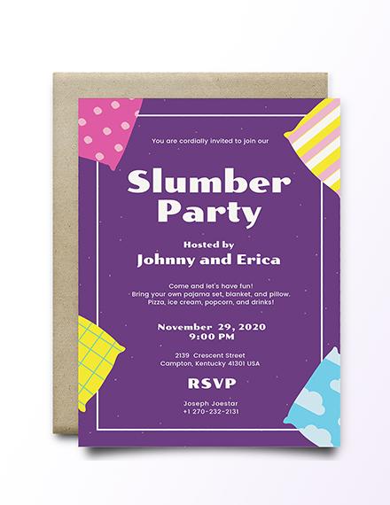 Sample Slumber Party Invitation