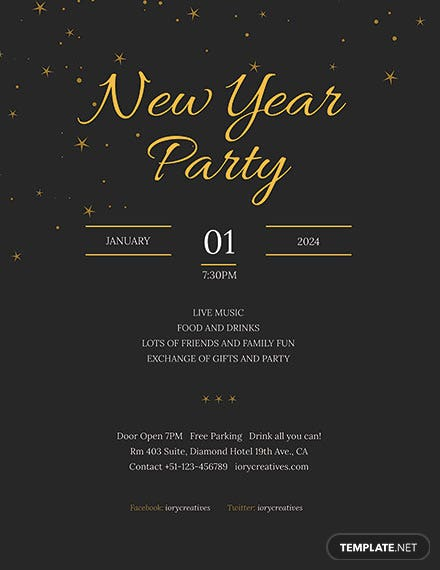 Free New year Holiday Party Poster Template