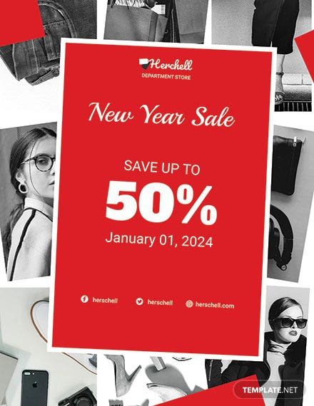 Free New year Holiday Savings Sale Poster Template