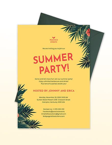 Sample Summer Party Invitation