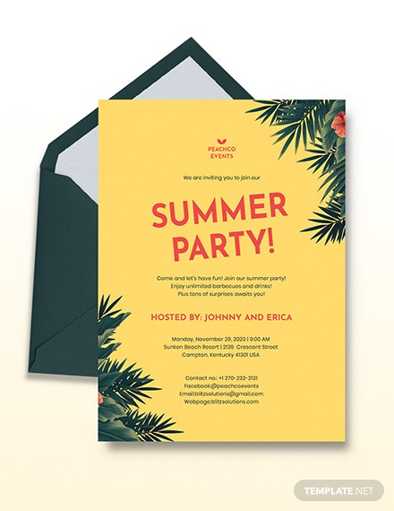 Summer Party Invitation Download