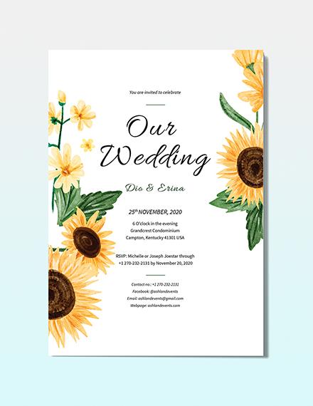 Sunflower Wedding Invitation Download