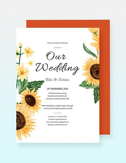 Sunflower Wedding Invitation Sample