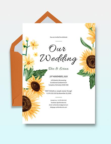 Sunflower Wedding Invitation Template