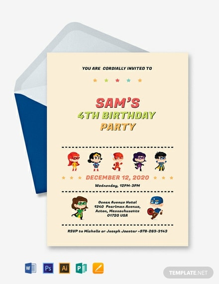 Free Superhero Birthday Invitation Template