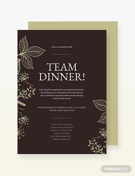 Sample Team Dinner Invitation
