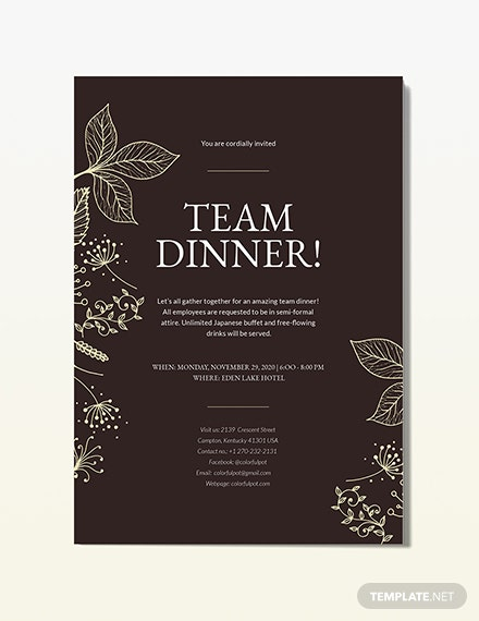 Team Dinner Invitation Download