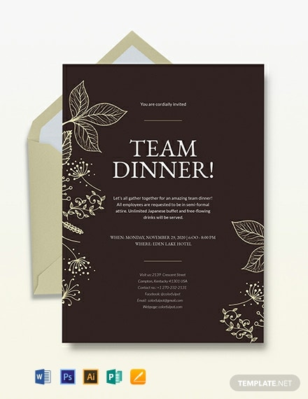 team dinner invitation template  download 241  invitations