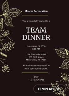 Team Dinner Invitation Template