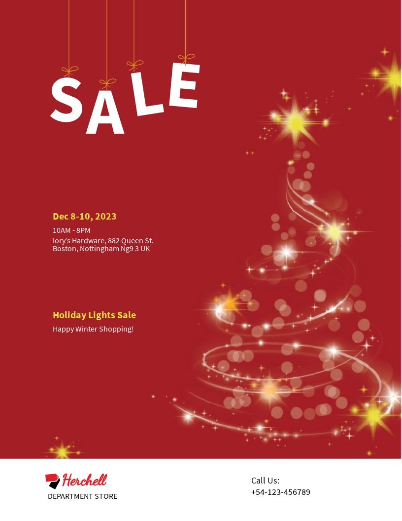 Free Christmas Lights Sale Flyer Template.jpe