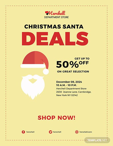 Free Christmas Santa Sale Flyer Template