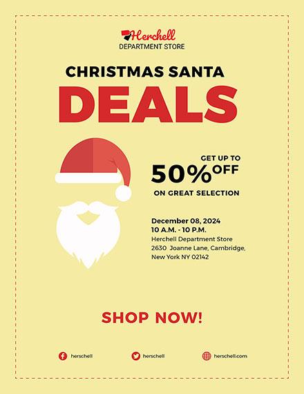 Free Christmas Santa Sale Flyer Template