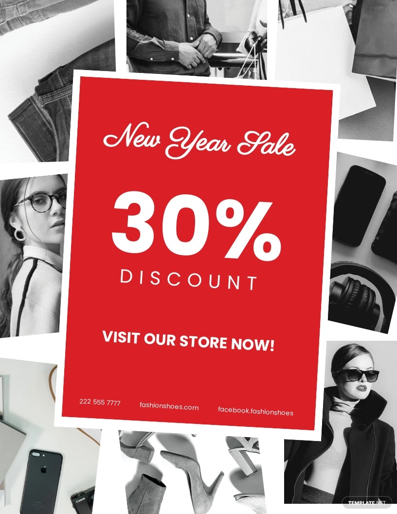 Free New year Holiday Savings Sale Flyer Template.jpe