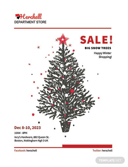 Free Snow Trees Sale Flyer Template