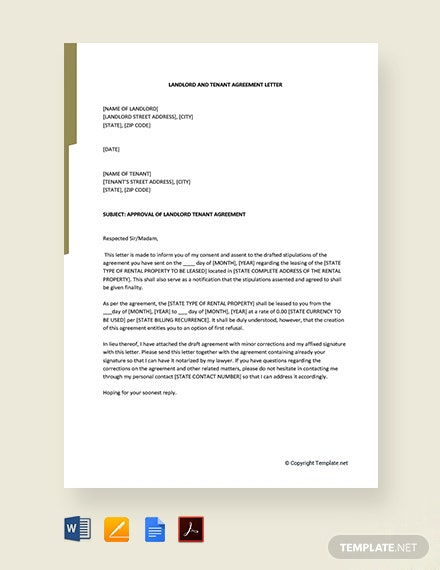Free Landlord and Tenant Agreement Letter