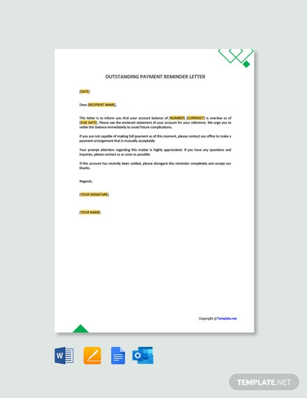 Outstanding Payment Reminder Letter Template