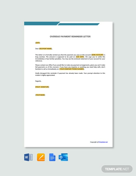 Free Overdue Payment Reminder Letter Template Word Google Docs Apple Pages L Outlook