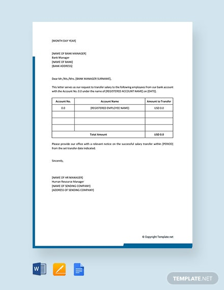 Free Salary Transfer Letter to Bank