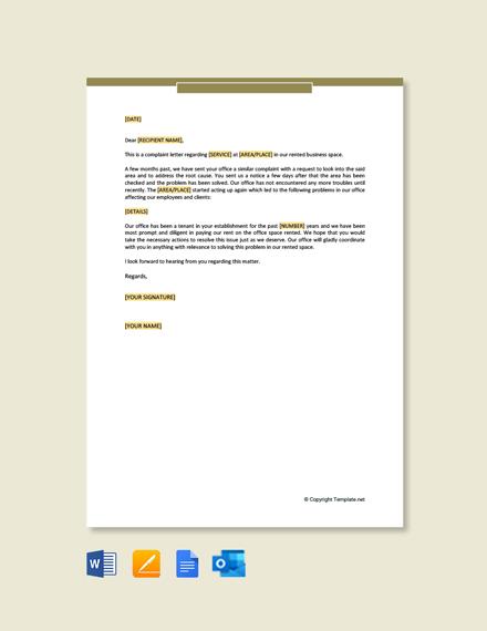 Tenant Complaint Letter Template