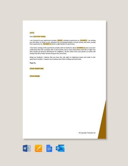 Tenant Complaint Letter about Noise Template