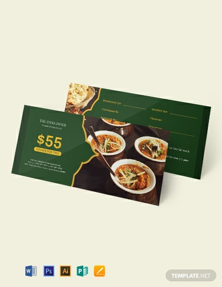 Meal Dinner Voucher Template