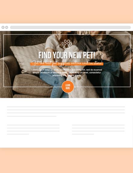 Pets Website Header Template