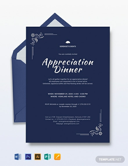 Appreciation Dinner Invitation Template