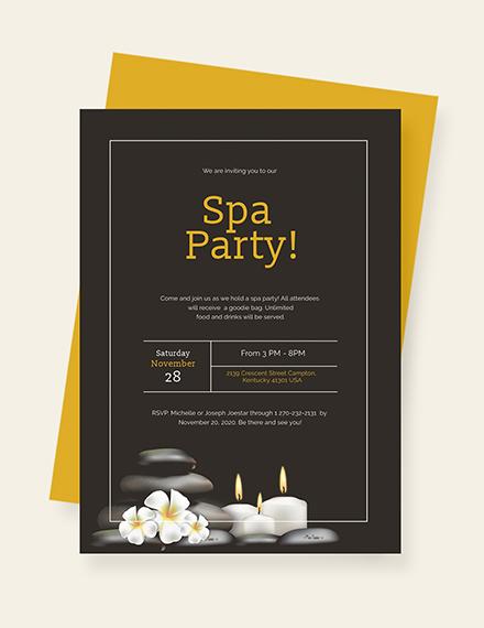 Sample Spa Party Invitation